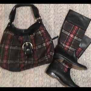 Coach purse plaid red/green